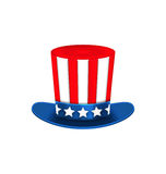 Uncle Sam's Hat for American Holidays, Isolated on White Background Royalty Free Stock Photo
