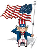 Uncle Sam Saluting the US Flag. Vector Cartoon Illustration of Uncle Sam saluting and holding a waving American flag Royalty Free Stock Image
