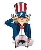 Uncle Sam Saluting. Vector Cartoon Illustration of Uncle Sam saluting Stock Images