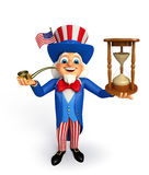 Uncle Sam with sand clock Stock Image