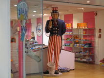 Uncle Sam. A shop in a mall in Cardiff with United States' food Stock Images