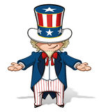 Uncle Sam Showing. Clean-cut, overview cartoon illustration of Uncle Sam showing with his hands Royalty Free Stock Photos
