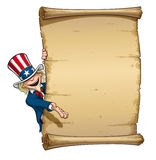 Uncle Sam Showing at Declaration. Vector Cartoon Illustration of Uncle Sam presenting a declaration-like papyrus Stock Photos