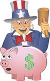 Uncle Sam Smashing a Piggy Bank. With a Hammer stock image