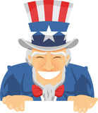 Uncle Sam smiling. Uncle Sam Happily Smiling with american flagged top hat and blue suit with red ribbon  illustration Stock Photography