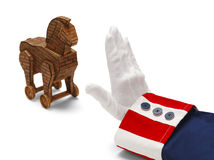 Uncle Sam Stopping Trojan Horse Stock Image