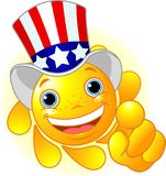 Uncle Sam Sun pointing. Cute and shiny Sun with Uncle Sam hat pointing to us Royalty Free Stock Image