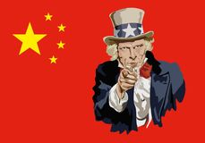 Uncle Sam symbolically pointing to China's trade threat. Concept of protectionism and world economic war with the portrait of Uncle Sam in front of the vector illustration