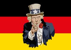 Uncle Sam symbolically pointing to the commercial threat of Germany. Concept of protectionism and world economic war with the portrait of Uncle Sam in front of stock illustration