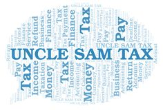 Uncle Sam Tax word cloud. Wordcloud made with text only stock illustration