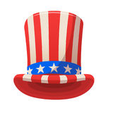 Uncle Sam top hat icon. Cartoon illustration for American Independence Day. Design for decoration or print. Isolated on white. Uncle Sam top hat icon. Cartoon Stock Photography