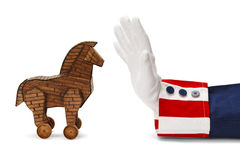 Uncle Sam Trojan Horse. President Stopping Trojan Horse Isolated on White stock photography