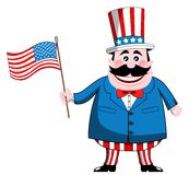 Uncle Sam with USA Flag. Cartoon Uncle Sam waving usa or american flag isolated Stock Photo