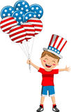 Uncle Sam Kid with USA Flag Balloons Stock Photos