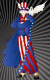 Uncle Sam. Vector Illustration of Old Patriotic Uncle Sam Cartoon Character with Bird vector illustration