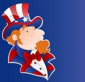 Uncle Sam Vector Sticker Art. Cartoon Old Uncle Sam Character Face Vector Illustration Stock Illustration