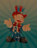 Uncle Sam Vintage Background. Happy Cartoon Uncle Sam Character Vector Illustration Royalty Free Stock Photos