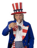 Uncle Sam Want's YOU. Classic Uncle Sam poster pose on a white background with Uncle Sam pointing his finger at the cmaera royalty free stock photo