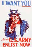 Uncle Sam Wants You. Uncle Sam enlistment poster world war I vintage Stock Images