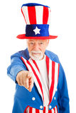 Uncle Sam Wants You. Realistic American Uncle Sam pointing at the camera in the classic pose. Isolated on white stock photos
