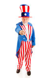 Uncle Sam Wants You - Full Body. Full body isolated view of American icon Uncle Sam in the classic I Want You pose stock images
