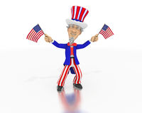 Uncle Sam waves two small American flags. A happy Uncle Sam waves two American flags. Dressed in a red, white and blue suit with a top hat on a white background Royalty Free Stock Photography