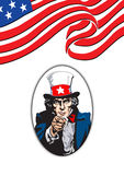 Uncle Sam in white vector illustration