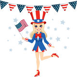 Uncle Sam Woman Disguise Royalty Free Stock Images