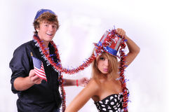 Uncle Sam and young lady Stock Images