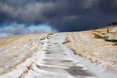 Uncleaned παγωμένος δρόμος Στοκ Φωτογραφίες