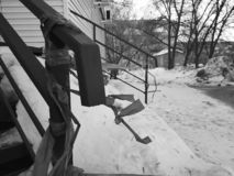 Uncleaned stairs in the snow stock photography