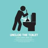 Unclog символ черноты туалета иллюстрация вектора