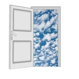Unclosed door with a kind on blue sky with clouds Stock Photos