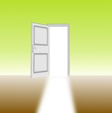 Unclosed door in a room and sunlight Royalty Free Stock Image