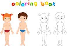 Unclothed pojke och flicka Bildande färgläggningbok för ungar stock illustrationer