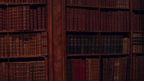 Uncognizable old books. 4K pan video