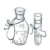 Uncolor烧瓶和管测试与心脏象在手中被画的样式 爱不老长寿药 图库摄影