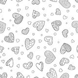 Uncolored безшовная картина контуря сердец Стоковое Изображение