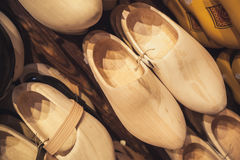 Uncolored clogs made of poplar wood Stock Photo