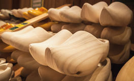 Uncolored clogs made of poplar wood Royalty Free Stock Images