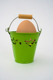 Uncolored egg in green basket Royalty Free Stock Photos