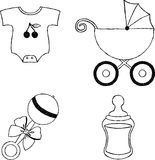 Uncolored four baby stuff icons Stock Images