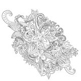 Uncolored hand drawn lined pattern Royalty Free Stock Images
