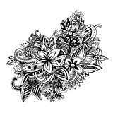 Uncolored hand drawn lined pattern Royalty Free Stock Photos