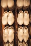 Uncolored new clogs made of poplar wood Royalty Free Stock Image