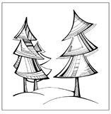 Uncolored stylized fir-tree. Vector hand drawn artwork. Uncolored stylized cartoon fir-tree. Vector hand drawn artwork. Coloring book page Royalty Free Stock Photography