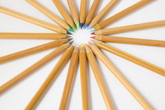 Uncolored wooden pencils. Isolated collection of wooden colored pencils arranged in a star shape Stock Photo
