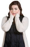 Scared Woman Covering Ears Stock Photo