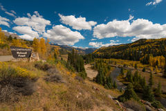 Uncompahgre National Forest road to Telluride Stock Photo