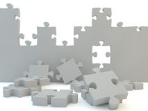 Uncompleted jigsaw wall. 3d illustration of uncompleted jigsaw wall on white background Stock Images